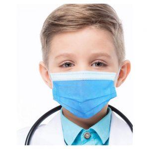 Confezione di 50 mascherine chirurgiche bambini tipo I monouso a 3 strati