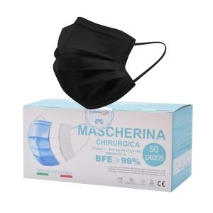50 Mascherine chirurgiche Nere Made in Italy tipo IIR monouso a 3 strati BFE 98%