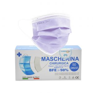 50 Mascherine chirurgiche Lilla – Made in Italy – tipo IIR monouso a 3 strati BFE 98%